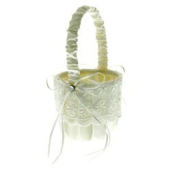 Lace Flower Girl Bag - White (12cm diameter x 22cm long)