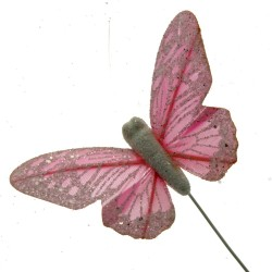 7cm Pastel Sparkle Feather Butterflies - Pink (12pcs per pk on a 20cm Wire)