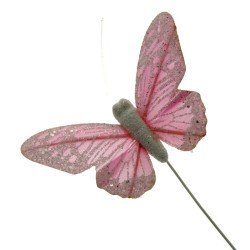 10 Pastel Sparkle Feather Butterflies - Pink (12pcs per pk on a 20cm Wire)