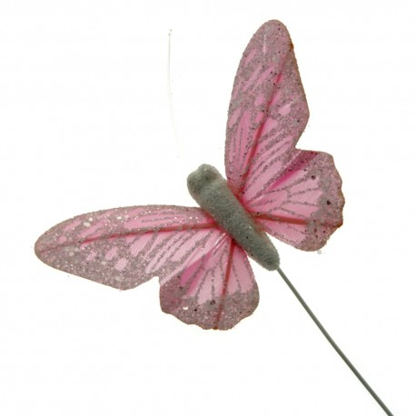 10 Pastel Sparkle Feather Butterflies - Pink (12pcs per pk on a 20cm Wire)