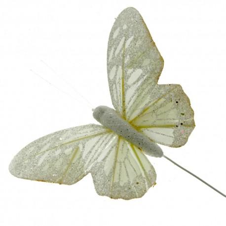 10 Pastel Sparkle Feather Butterflies - Cream (12pcs per pk on a 20cm Wire)