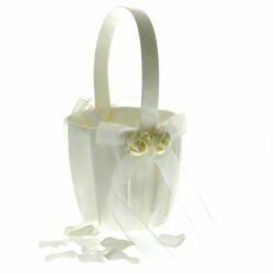 Rose Flower Girl Bag - Ivory (12cm diameter x 22cm long)