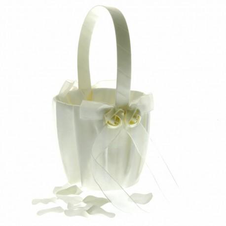 Rose Flower Girl Bag - Ivory (12cm diameter x 22cm long)
