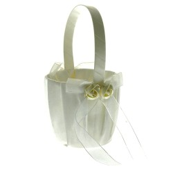 Rose Flower Girl Bag - White (12cm diameter x 22cm long)