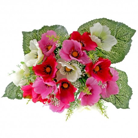 Poppy Bunch - Pink, Cerise & Cream (17 Heads)