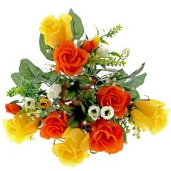 Mini Rose Bush - Orange, Yellow & Cream (7 Heads)