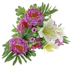 Peony and Lily Bunch - Purple & Cream (18 Heads)