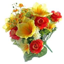 Rose and Amaryllis Bunch - Yellow & Orange (48cm long)