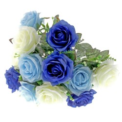 Large Rose Bush - Light Blue, Dark Blue & Cream (12 Heads)