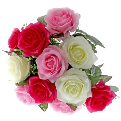 Large Rose Bush - Pink, Cerise & Cream (12 Heads)