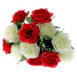 Large Rose Bush - Red & Cream (12 Heads)