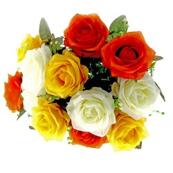 Large Rose Bush - Orange, Yellow & Cream (12 Heads)