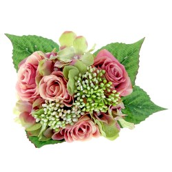 Rose & Hydrangea Bunch - Antique Pink & Green Mix
