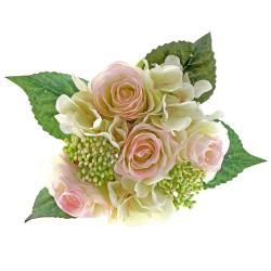 Rose & Hydrangea Bunch - Pale Pink & Ivory Mix