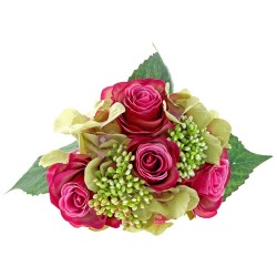 Rose & Hydrangea Bunch - Cerise & Green Mix
