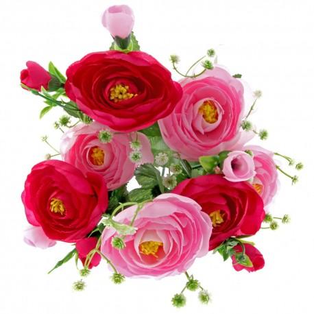 Mini Rannuculus Bush - Pink, Cerise & Cream (7Heads)