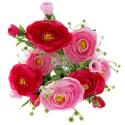 Mini Ranuculus Bush - Pink, Cerise & Cream (7Heads)