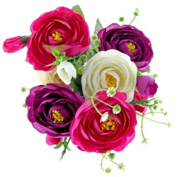 Mini Ranuculus Bush - Purple, Pink & Cream (7Heads)