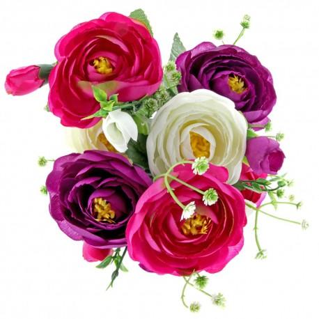 Mini Rannuculus Bush - Purple, Pink & Cream (7Heads)