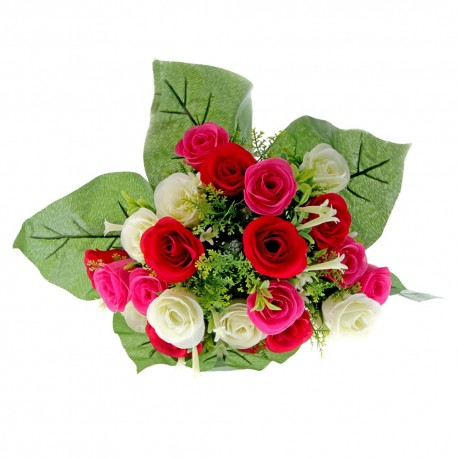 Rose and Stephanotis Bush - Pink, Cerise & Cream (24 Heads)