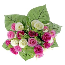 Rose and Stephanotis Bush - Purple, Pink & Cream (24 Heads)