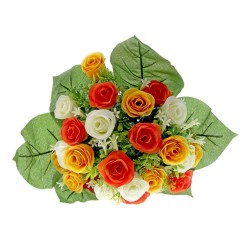 Rose and Stephanotis Bush - Yellow, Orange & Cream (24 Heads)
