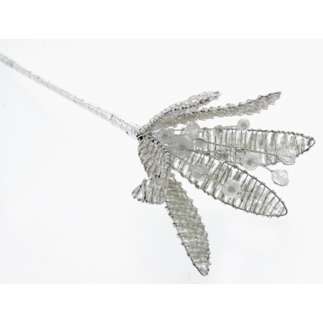 Crystal Flower - Silver (17.5cm Long)