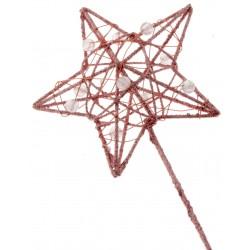 Glittered Star Wand - Rose Gold (7cm diameter on 30cm Handle)