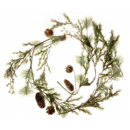 Snowy Garland with Berries and Pine Cones - Natural (150cm long)