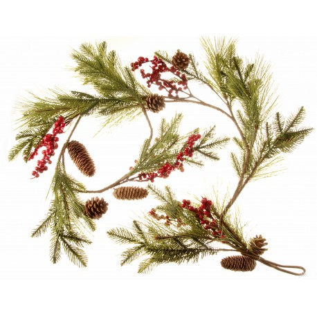 Pine Cone and Berry Garland - Natural (150cm diameter)