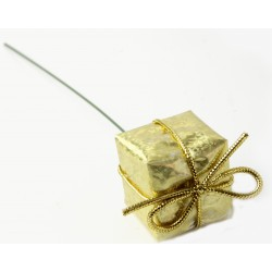 Christmas Present Picks - Gold (3cm & 2.5cm presents on a 13cm pick, 6 pieces of each size per pk. 12 pcs total per pk)