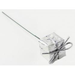 Christmas Present Picks - Silver (3cm & 2.5cm presents on a 13cm pick, 6 pieces of each size per pk. 12 pcs total per pk)