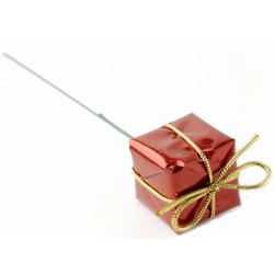 Christmas Present Picks - Red (3cm & 2.5cm presents on a 13cm pick, 6 pieces of each size per pk. 12 pcs total per pk)