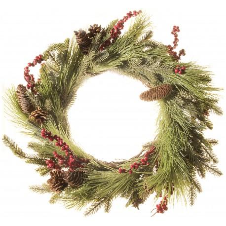 Pine Cone and Berry Wreath - Natural (60cm diameter)