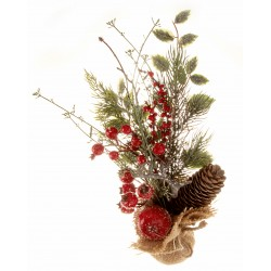 Christmas Table Top Arrangement - Red (30cm long)