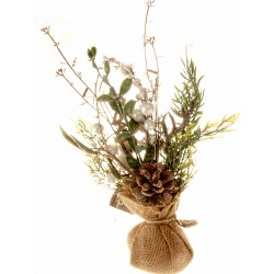 Christmas Table Top Arrangement - White (32cm long)