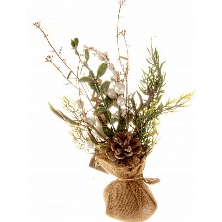 Christmas Table Top Arrangement - White (32cm long)