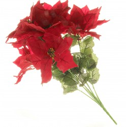 Large 9 Headed Velvet Poinsettia Bush - Red (9 heads approx. 22cm diameter heads. 60cm long bush)