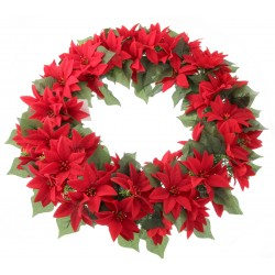 Artificial Poinsettia Wreath - Red (45cm Diameter)