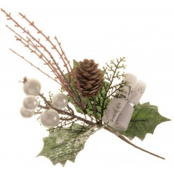 White Berry and Parcel Christmas Pick - White & Green (6 pcs per pk)