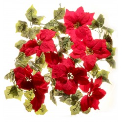 Large Headed Poinsettia Garland - Red (182cm Long)