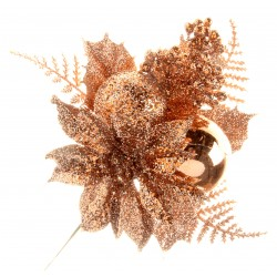 Rose Gold Poinsettia Christmas Pick - Rose Gold (6pcs per pk)