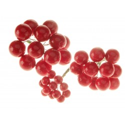 Berries On Wire - Red (2cm, 1.5cm & 1.25cm berries on a 8cm wire. 12 pcs per size, total 36 pieces per pk)