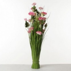 Poppy Flower Bush - Pink & Green (80cm tall)