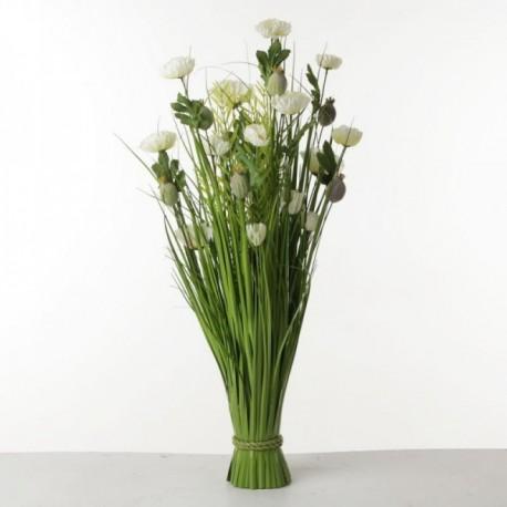 Poppy Flower Bush - White & Green (80cm tall)