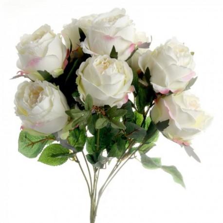 Peony Rose Bush - Cream (10 heads)