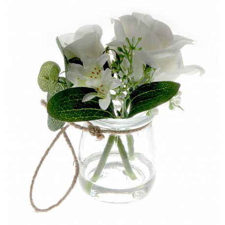 Rose Glass Pot with Foliage - Green & White (13cm tall)