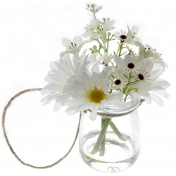 Daisy Glass Pot with Foliage - Green & White (12cm tall)