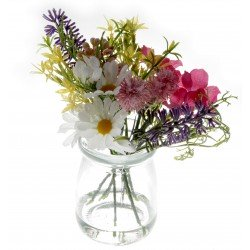 Daisy Glass Pot with Foliage - Mixed Colours (12cm tall)