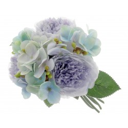 Peony & Hydrangea Bush - Blue Mix (28cm long)